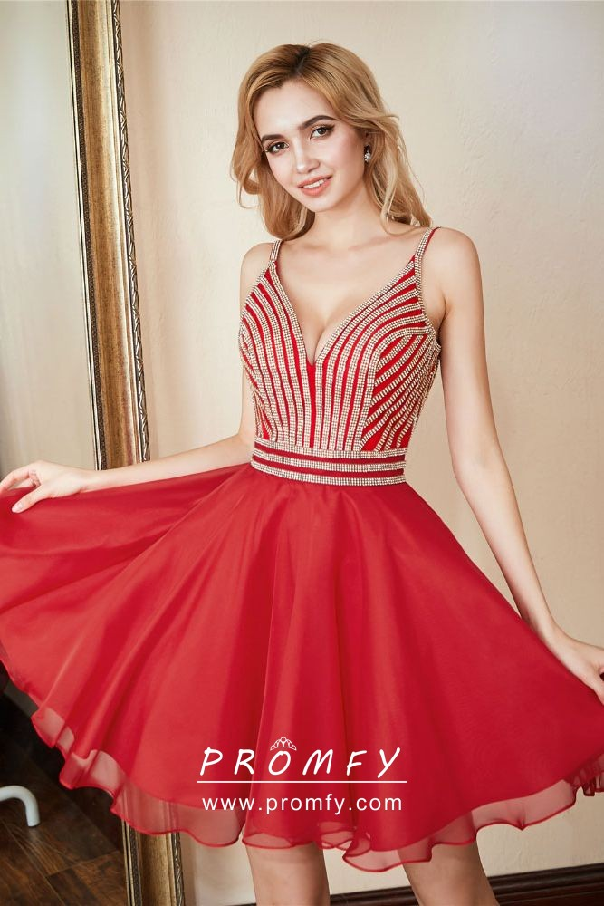85a5e9cc16e Beautiful striped beaded red chiffon short A line cocktail homecoming dress