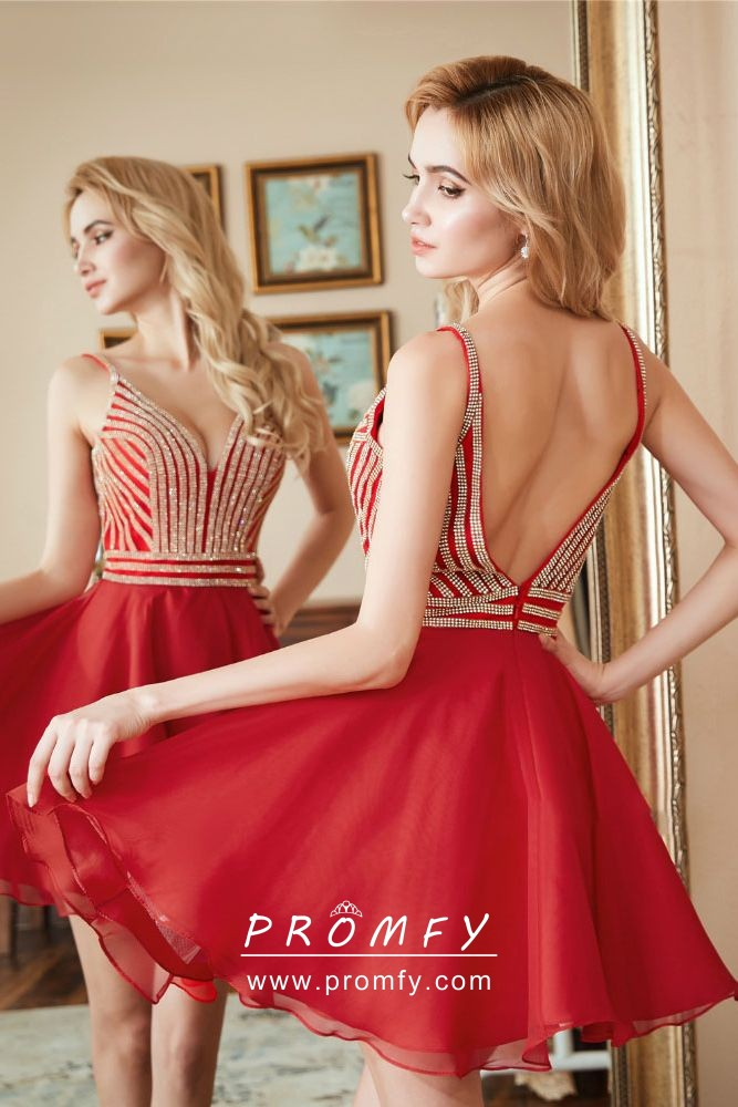 82c6bcc8f20 striped beaded red chiffon short A line cocktail homecoming dress