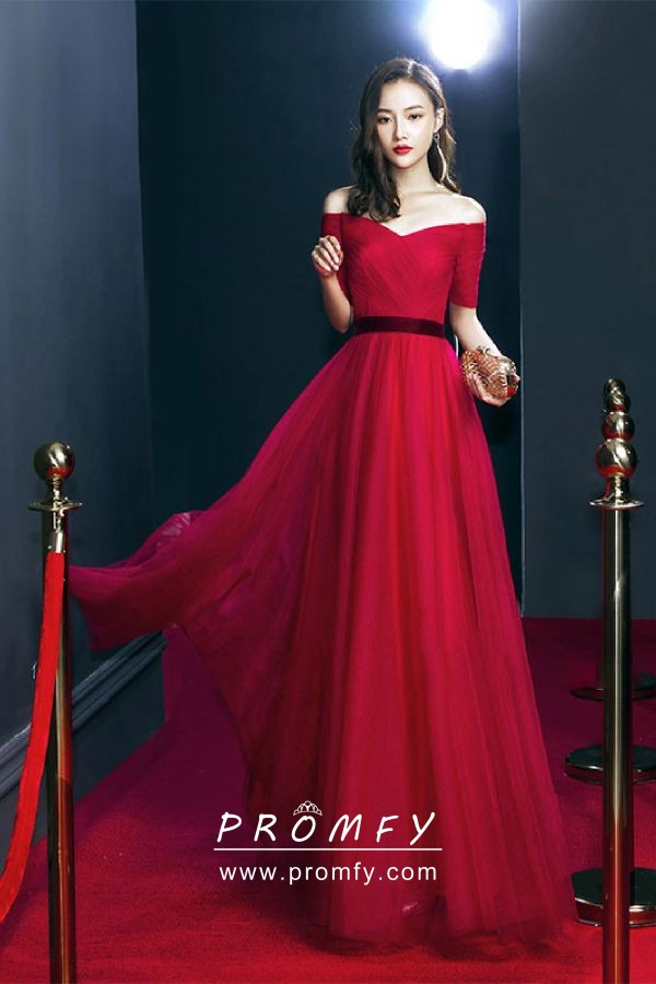 Elegant Elbow Length Sleeve Red Black Tulle Off The