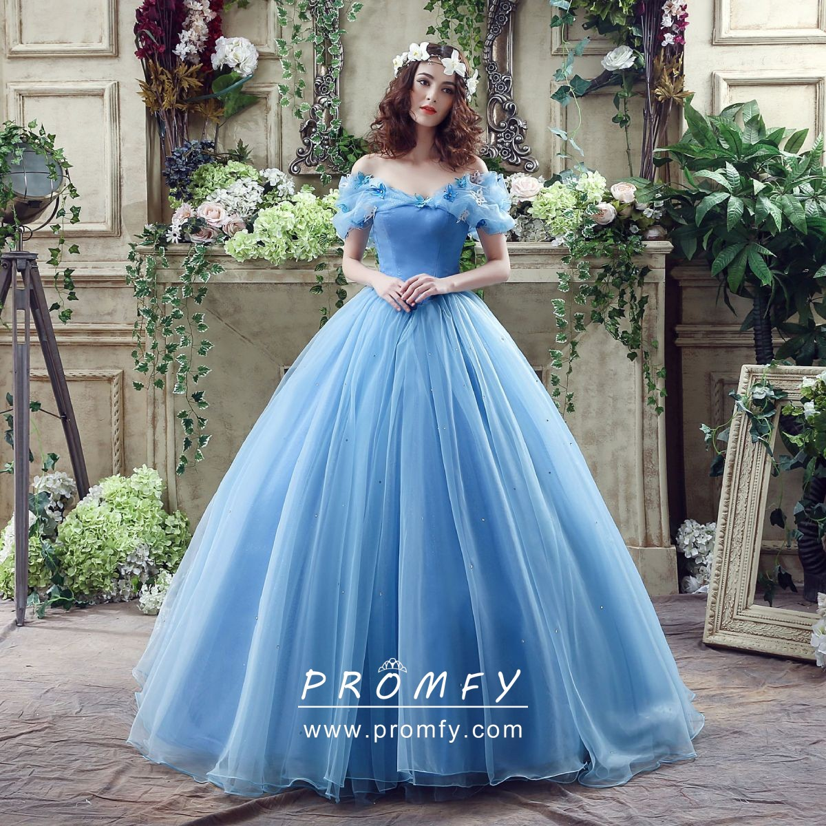 ec3f231890e butterfly embellished off the shoulder pool organza Cinderella ball gown