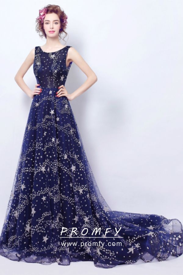 3951ca5602f6ee Bedazzled Starry Beaded Space Blue Prom Dress with Long Train ...