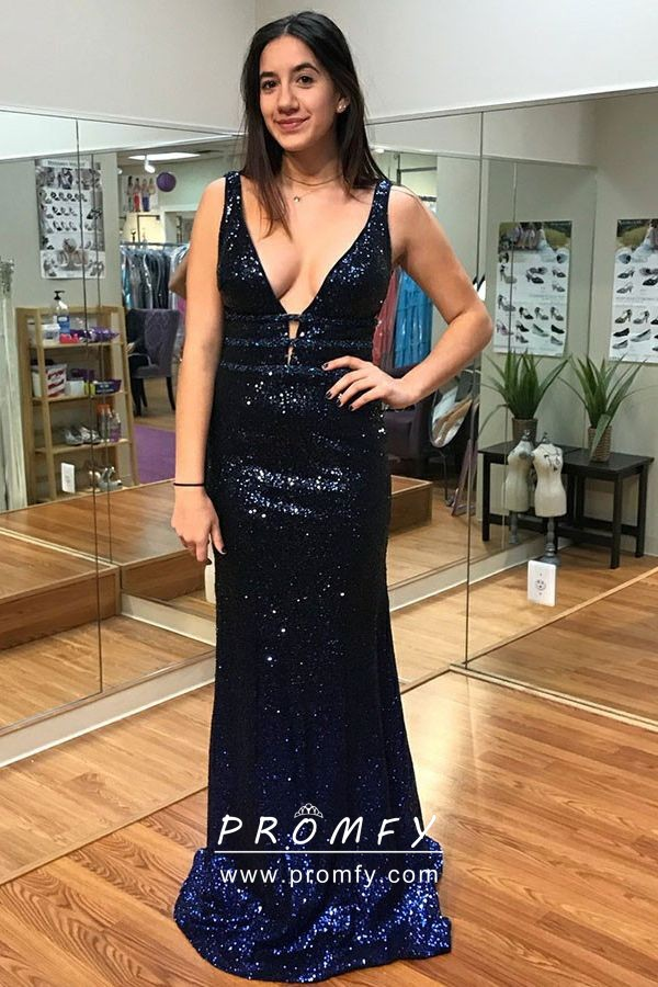 202af0c5828 Sexy navy blue sequin plunging neckline fit and flare long prom dress