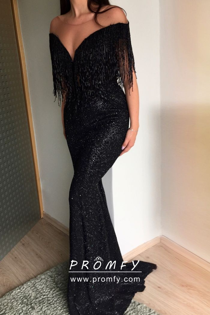 b0521cea77891 Exclusive black tassel and sequin off the shoulder mermaid formal dress