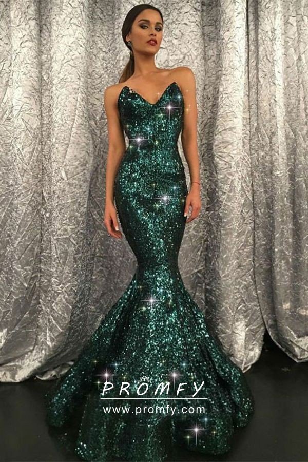Strapless V Neck Dark Green Sequin Mermaid Gown
