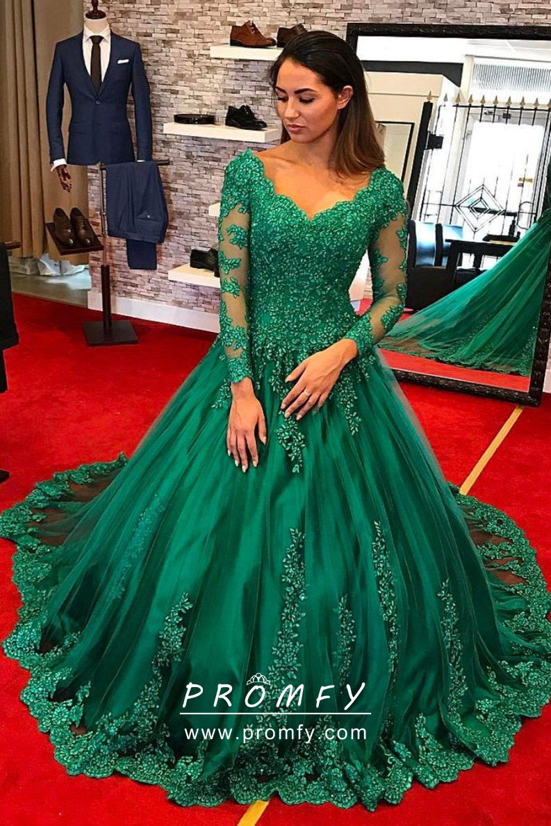 85f8fc268d Classic green lace and tulle V neck ball gown with illusion long sleeves