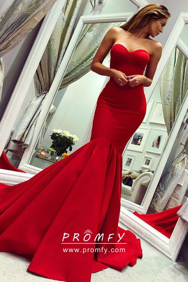 Gorgeous Red Drop Waist Mermaid Floor Length Strapless