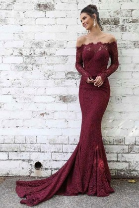ec2d4561f7 Feminine burgundy lace elegant off the shoulder long sleeve mermaid formal  dress