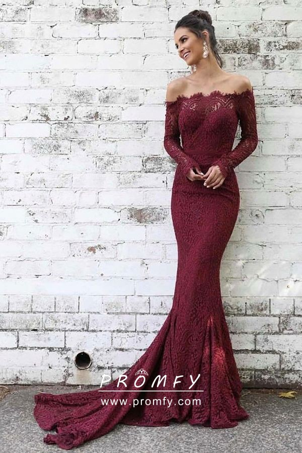 0aaa56db1e3 Feminine burgundy lace elegant off the shoulder long sleeve mermaid formal  dress