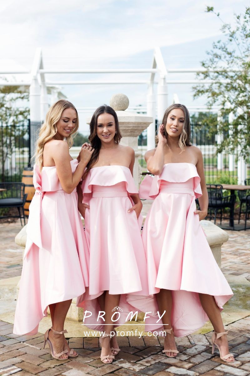 2d36dc6db4 Cute baby pink soft satin high low strapless bow back bridesmaid dresses