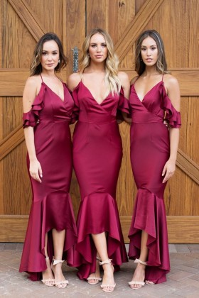78f300e3bf077 Chic ruffled berry V neck trumpet ankle length bridesmaid dresses