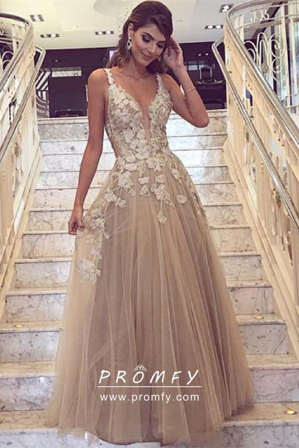 Sand Tulle Appliqued Neck Formal Dress