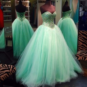 Beaded Ombre Teal Turquoise Ball Gown Prom Dress Promfy