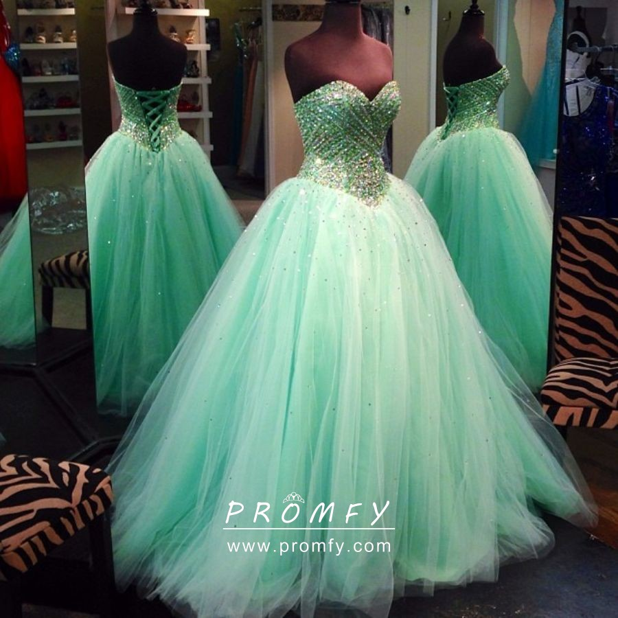 d43aa848ef Sparkly beaded mint green tulle strapless sweetheart ball gown prom dress