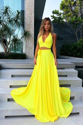 7a05b85a6ed Fashion bright yellow jersey two piece halter V neck long prom dress