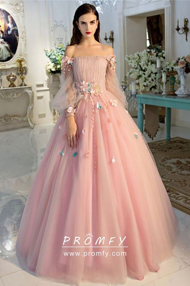 3d Flowers Baby Pink Tulle Off Shoulder Ball Gown Promfy