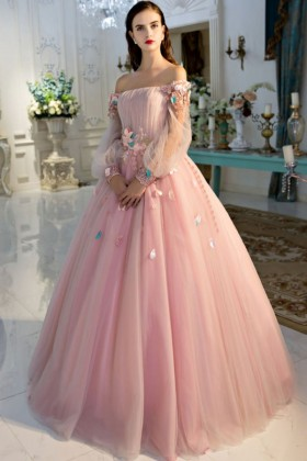 3e8bcd38518 Beautiful 3D flowers baby pink tulle off the shoulder long sleeve ball gown