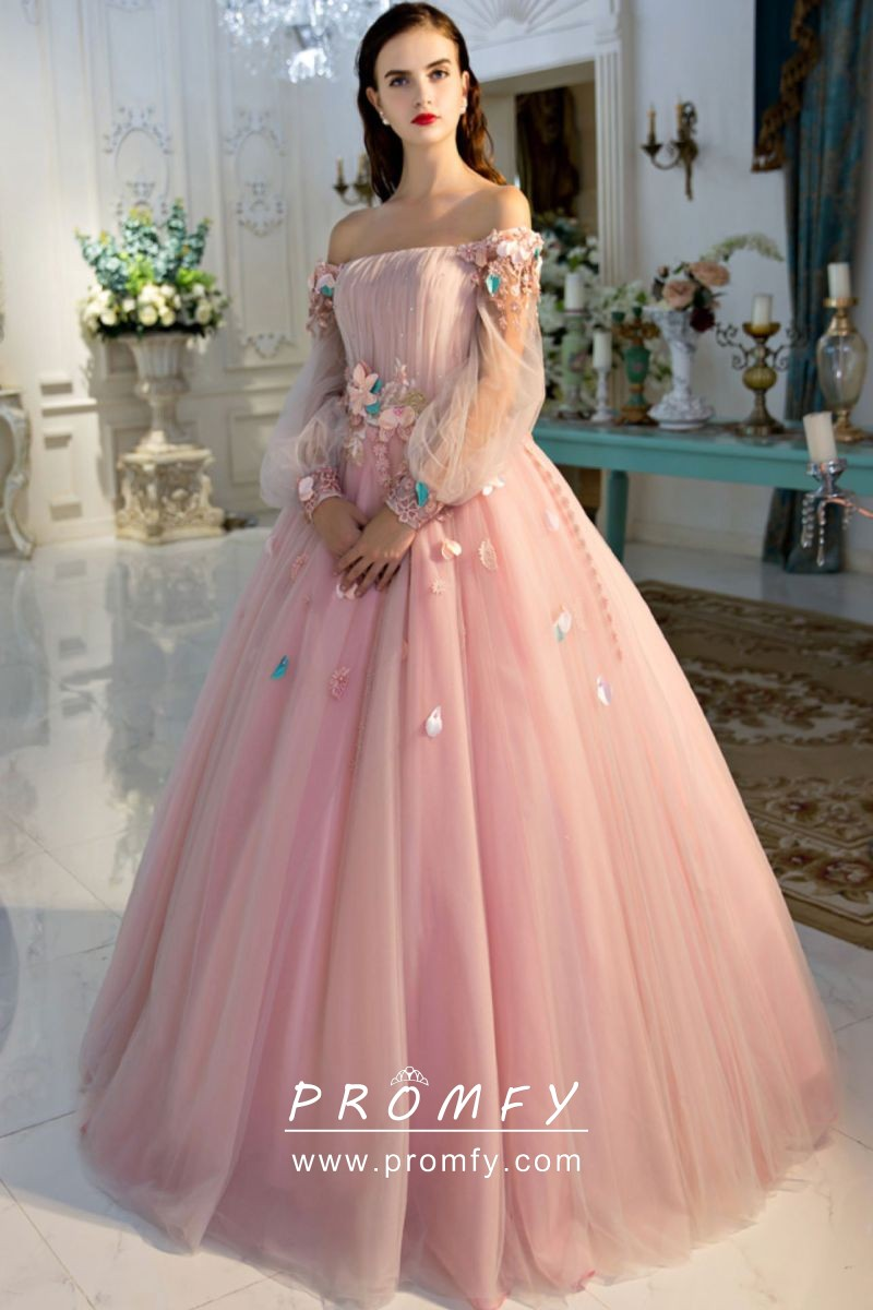 3788674a821 Beautiful 3D flowers baby pink tulle off the shoulder long sleeve ball gown