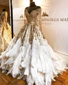 d3bc2b0a2ea6 Luxury gold sequin and white feather long sleeve pageant ball gown