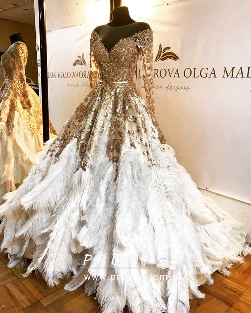 021e1ece41c5 Luxury Gold Sequin and White Feather Long Sleeve Pageant Ball Gown ...