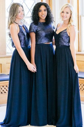 530279fb8e navy sequin and jersey designer mismatched A line long bridesmaid dresses