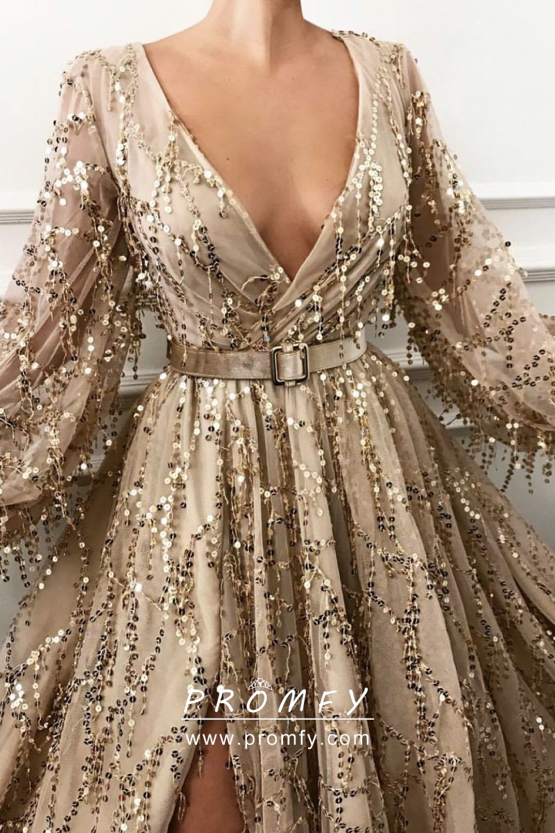 a641b98a85 Mojave gold sequin embellished tulle long sleeve plunging neckline ball gown