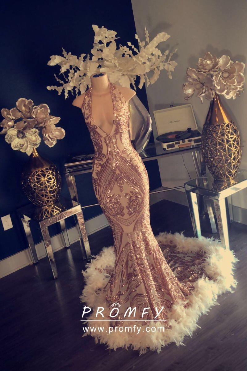 b4c2d32da5 gold sequin halter neck mermaid long prom dress with feather long train