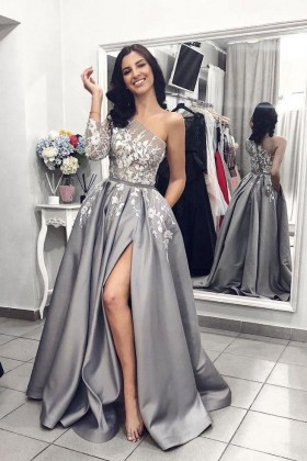 6febec27861cf Exquisite floral appliqued gray satin one shoulder puffy long prom dress