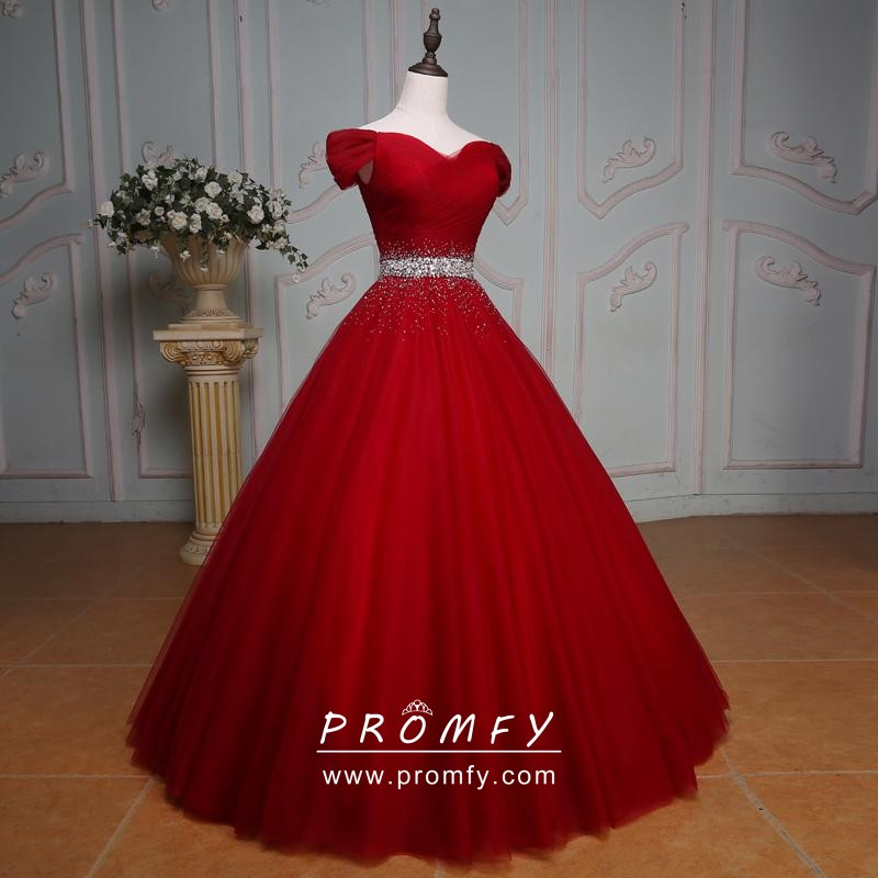Off-shoulder Long Prom Ball Gown