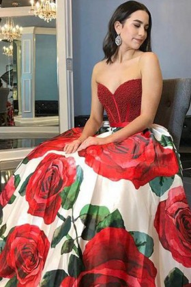 1ce6ccb0315 red pearls strapless sweetheart printed rose flowers designer ball gown  prom dress