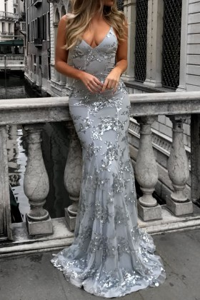 31c0ae8bf4 Silver sequins embellished net overlay light gray mermaid long prom dress