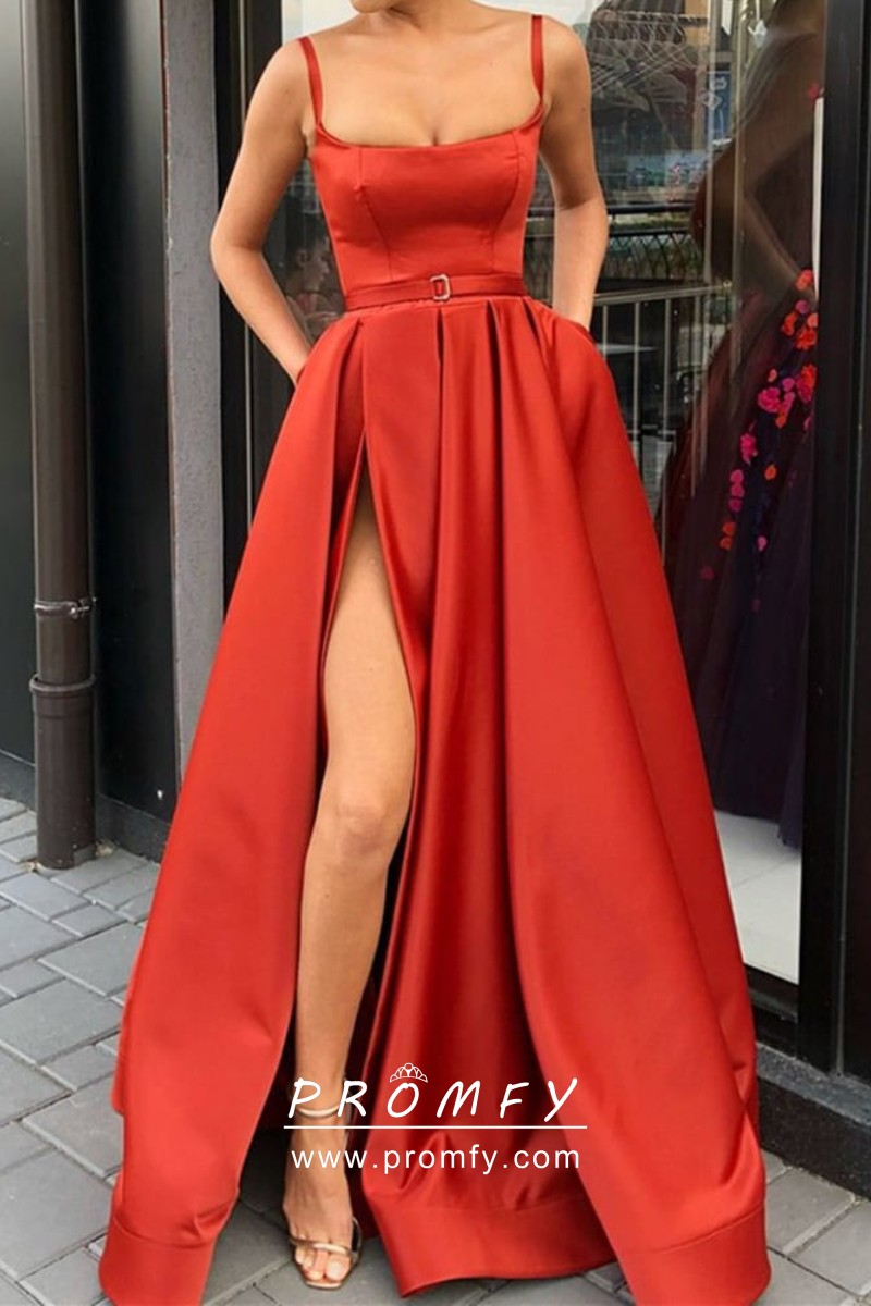 8c84b1a6df Scarlet Shiny Satin Scoop Neckline Thigh-high Slit A-line Prom Dress ...