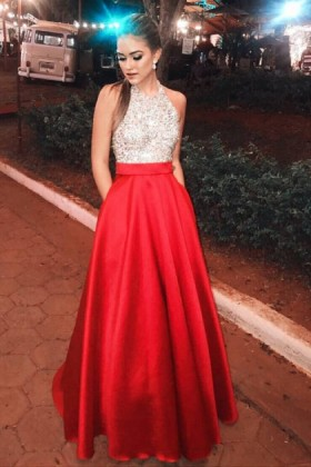 f18fb53cd34 Bedazzled bead bodice with red satin sleeveless halter long prom dress