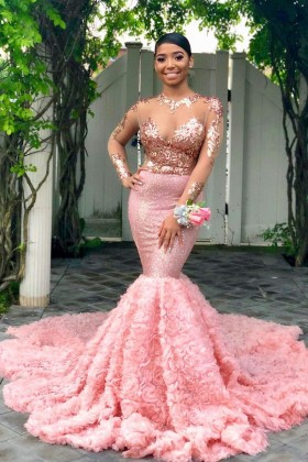 fe3f5e9d556 Sophisticated illusion rose gold sequin and pink 3D rosettes mermaid prom  dress