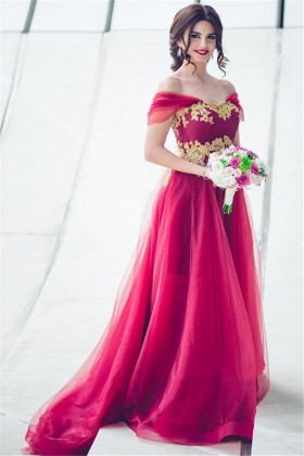 2f7758e919 Exclusive gold lace appliqued red tulle off the shoulder long formal dress