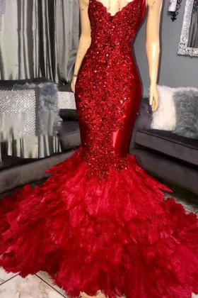 518de967cb0 Luxury crystal diamond beaded red feather mermaid prom pageant dress