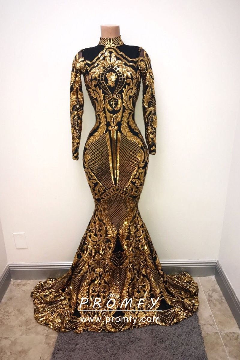 Gold Sequin And Black Lining Long Sleeve Prom Dress