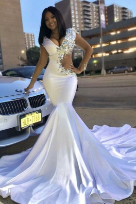 f2b7b765dda Asymmetrical diamond crystals cut out white satin V neck mermaid prom dress