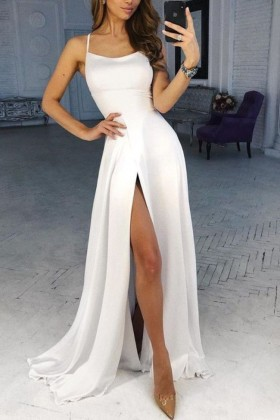 de0f8f1d75 diamond white satin scoop neckline military ball dress with thigh high slit