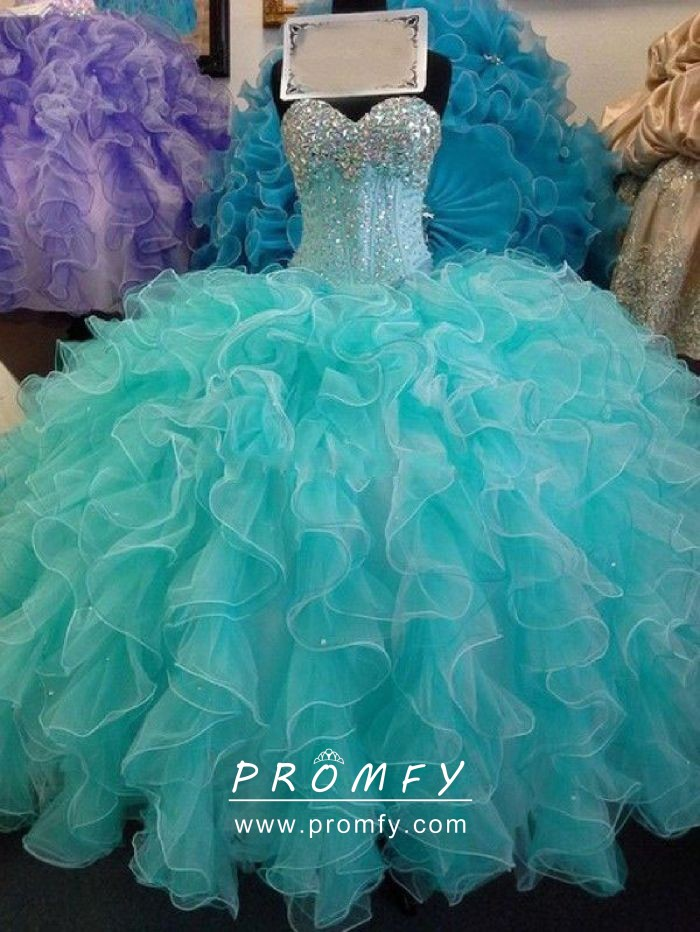 adb24dd073 sparkly diamond beaded strapless ruffled aqua organza quinceanera gown