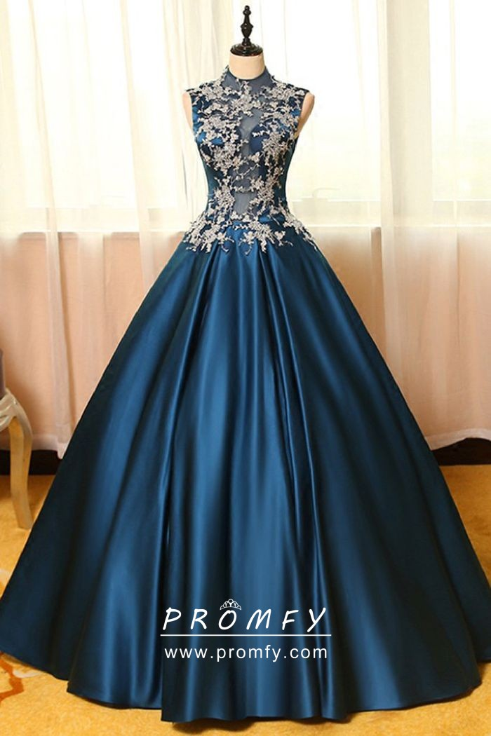 Vintage Inspired Navy Blue Satin Formal Ball Gown With