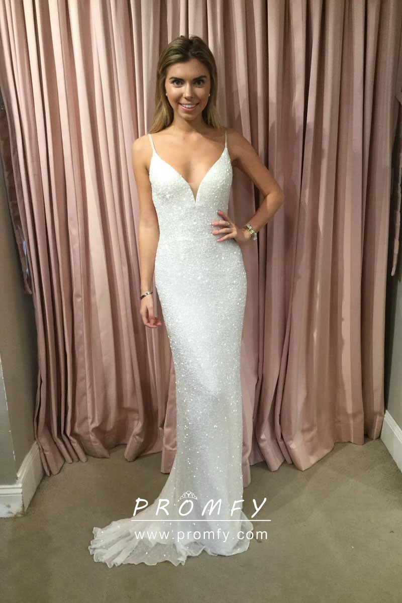 864be7cd68e Sparkly ivory glitter slim fit mermaid long prom dress with spaghetti straps