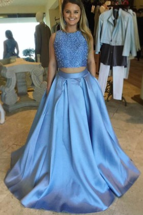 0c09f1651dffc Pearls crop top floor length A line two piece blue prom pageant gown