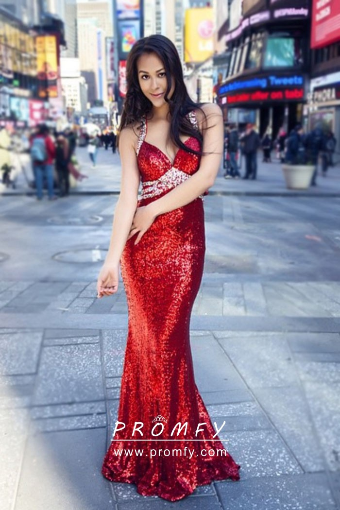 cc35532b3f176 Sparkly red sequin mermaid floor length prom pageant gown with beaded straps