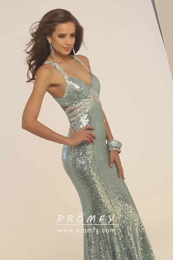 c7a168009 Sparkly Red Sequin Mermaid Floor Length Prom   Pageant Gown with ...
