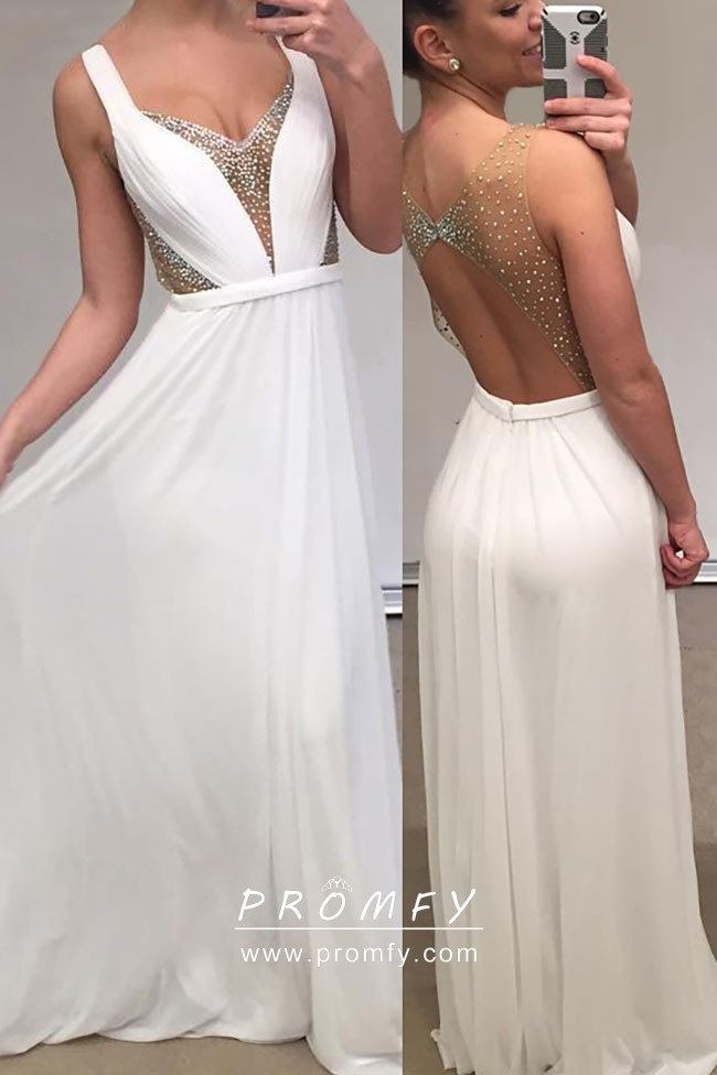 Pearls Illusion Open Back and Plunging Neckline White