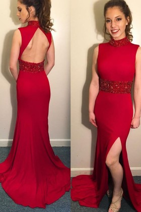 6e0f0572410 Red Lace and Spandex High Neckline Open Back Unusual Mermaid Long ...