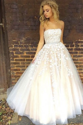 376ca7d0c644 strapless lace appliqued white tulle overlay champagne engagement ball gown
