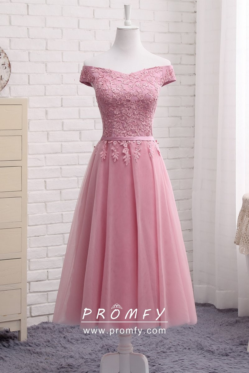 599db89361e A Line Off The Shoulder Short Pearl Pink Lace Homecoming Dress With Ruffle