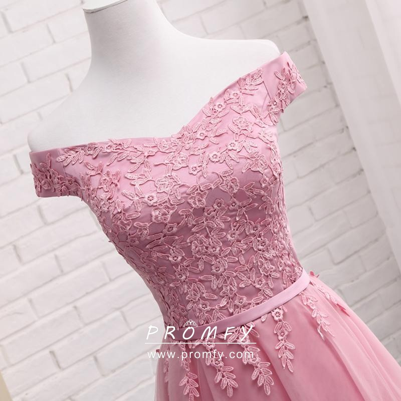 Candy Pink Lace Tea Length Cute Homecoming Dress