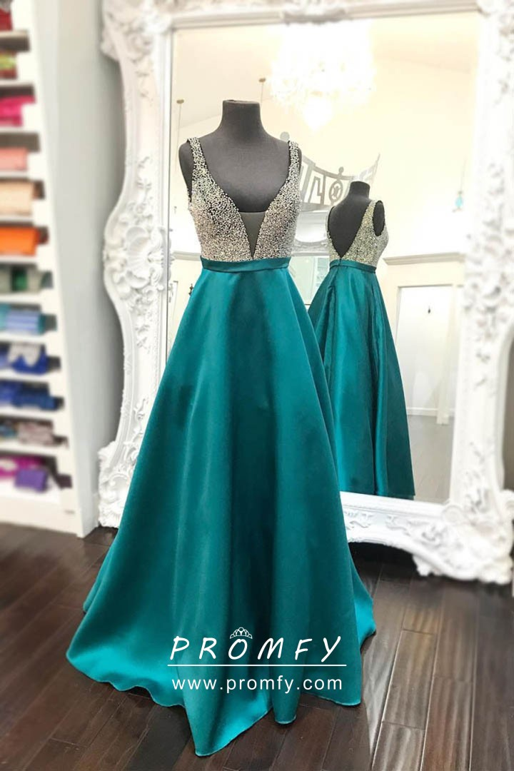 Sparkly Silver Beaded Teal Satin Plunging Neckline